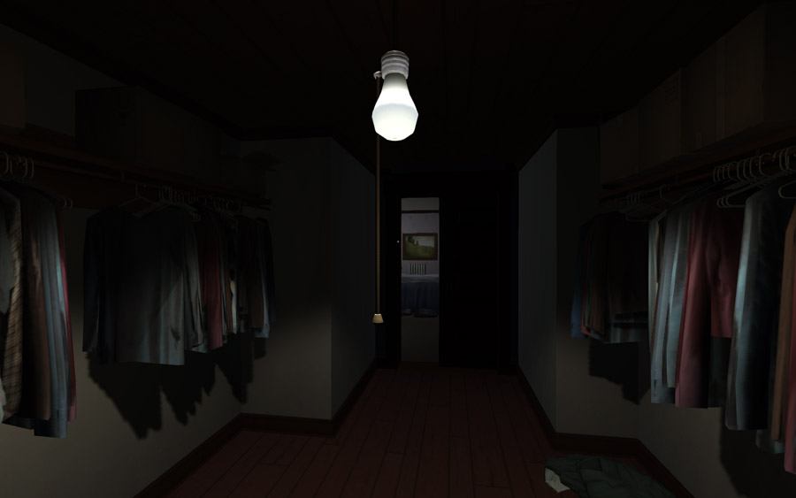 A closet in Gone Home