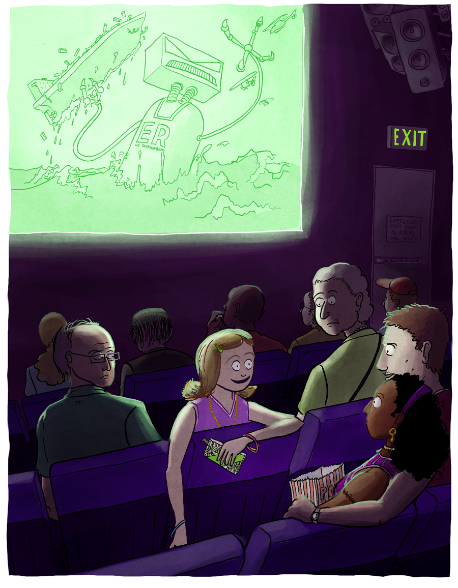At the movies with Grandma, unpublished children's book illustration